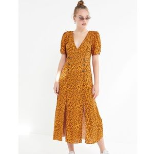 Urban Outfitters Printed  Front- Slit Midi Dress